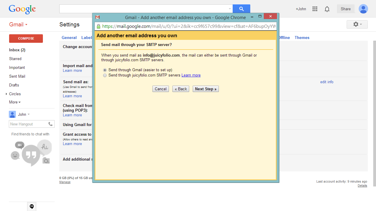 4- Set the sending of your mail through Gmail