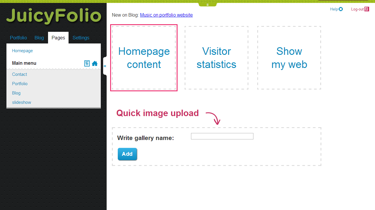 Creating a Slideshow on Homepage